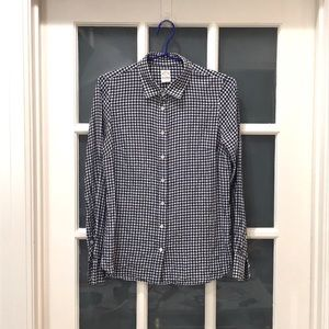 J. Crew Perfect Shirt Seersuckered Gingham